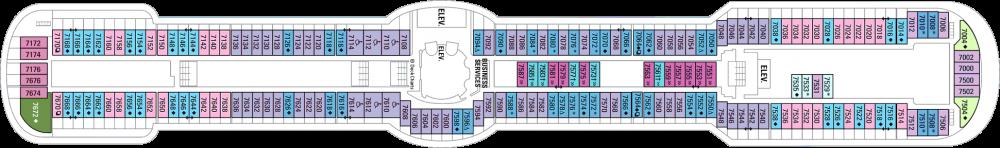 Палуба 7 на круизен кораб SERENADE of the seas - разположение на каюти, ресторанти, места за забавления и спорт
