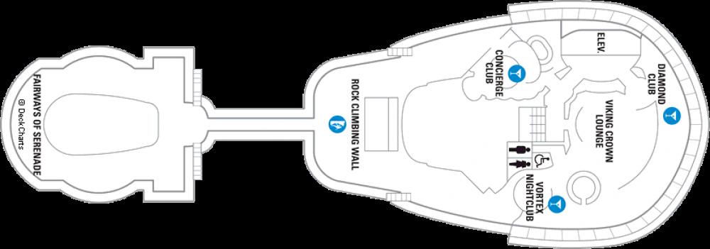 Палуба 13 на круизен кораб SERENADE of the seas - разположение на каюти, ресторанти, места за забавления и спорт