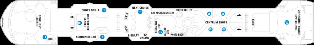 Палуба 6 на круизен кораб ENCHANTMENT of the Seas - разположение на каюти, ресторанти, места за забавления и спорт