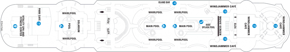 Палуба 9 на круизен кораб ENCHANTMENT of the Seas - разположение на каюти, ресторанти, места за забавления и спорт