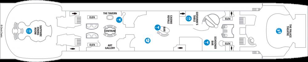Палуба 4 на круизен кораб EXPLORER Of The Seas  - разположение на каюти, ресторанти, места за забавления и спорт