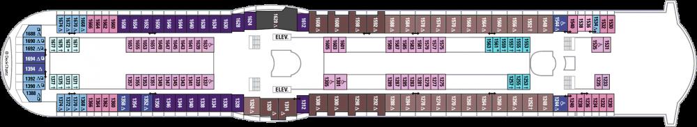 Палуба 10 на круизен кораб EXPLORER Of The Seas  - разположение на каюти, ресторанти, места за забавления и спорт