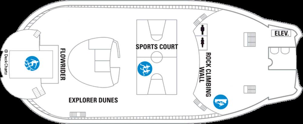 Палуба 13 на круизен кораб EXPLORER Of The Seas  - разположение на каюти, ресторанти, места за забавления и спорт