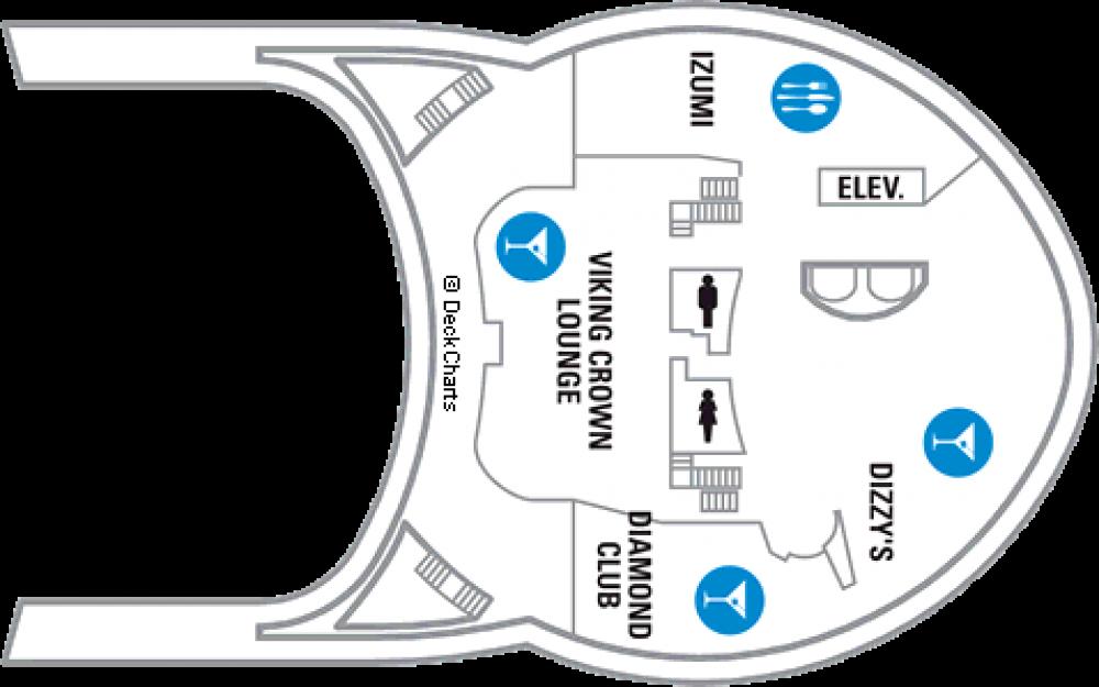 Палуба 14 на круизен кораб EXPLORER Of The Seas  - разположение на каюти, ресторанти, места за забавления и спорт