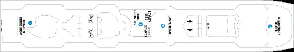 Палуба 5 на круизен кораб VISION Of The Seas  - разположение на каюти, ресторанти, места за забавления и спорт