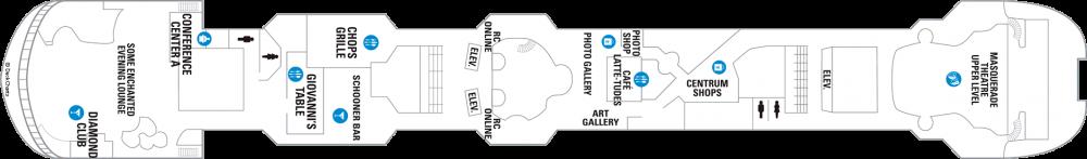 Палуба 6 на круизен кораб VISION Of The Seas  - разположение на каюти, ресторанти, места за забавления и спорт