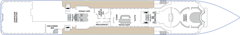 Палуба 5 на круизен кораб Azamara Journey - разположение на каюти, ресторанти, места за забавления и спорт