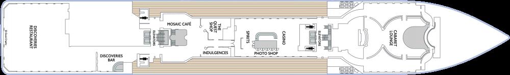 Палуба 5 на круизен кораб Azamara Quest - разположение на каюти, ресторанти, места за забавления и спорт