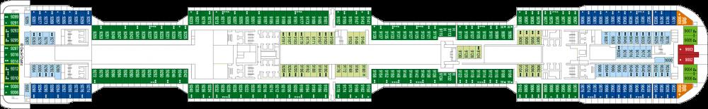 Палуба 9 на круизен кораб MSC Grandiosa - разположение на каюти, ресторанти, места за забавления и спорт