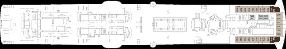 Палуба 15 на круизен кораб MSC Grandiosa - разположение на каюти, ресторанти, места за забавления и спорт