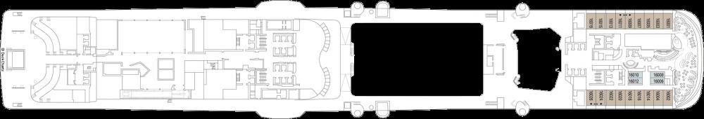Палуба 16 на круизен кораб MSC Grandiosa - разположение на каюти, ресторанти, места за забавления и спорт