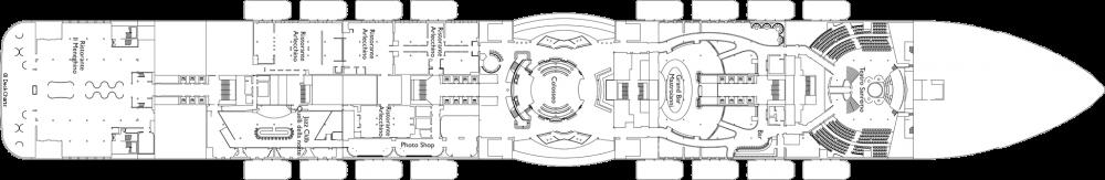 Палуба 6 на круизен кораб Costa Smeralda - разположение на каюти, ресторанти, места за забавления и спорт