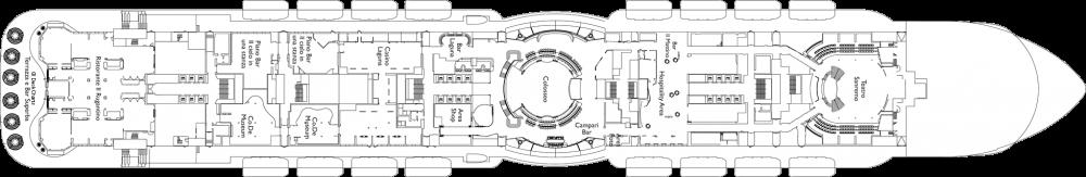 Палуба 7 на круизен кораб Costa Smeralda - разположение на каюти, ресторанти, места за забавления и спорт