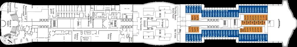 Палуба 16 на круизен кораб Costa Smeralda - разположение на каюти, ресторанти, места за забавления и спорт