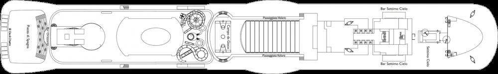 Палуба 18 на круизен кораб Costa Smeralda - разположение на каюти, ресторанти, места за забавления и спорт