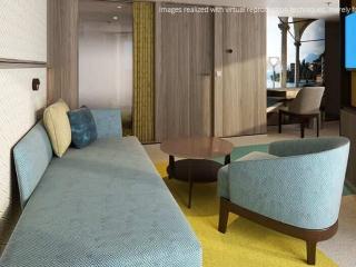 Описание на каюта Малък апартамент - категория MS на круизен кораб Costa Smeralda – обзавеждане, площ