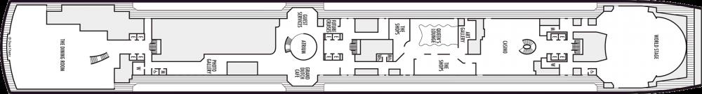 Палуба 3 на круизен кораб Koningsdam - разположение на каюти, ресторанти, места за забавления и спорт