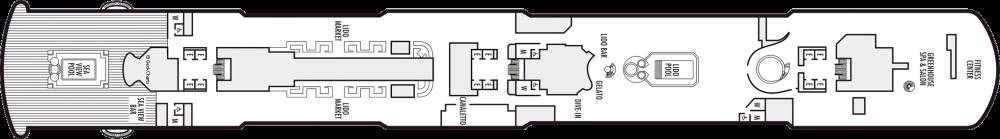 Палуба 9 на круизен кораб Koningsdam - разположение на каюти, ресторанти, места за забавления и спорт