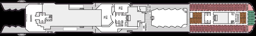 Палуба 10 на круизен кораб Koningsdam - разположение на каюти, ресторанти, места за забавления и спорт
