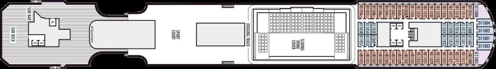 Палуба 11 на круизен кораб Koningsdam - разположение на каюти, ресторанти, места за забавления и спорт