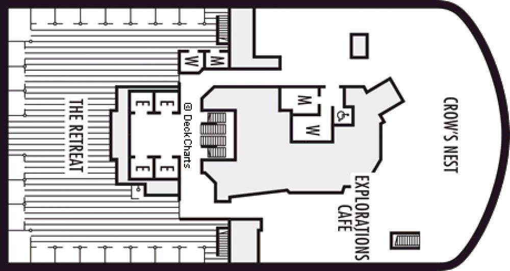 Палуба 12 на круизен кораб Koningsdam - разположение на каюти, ресторанти, места за забавления и спорт