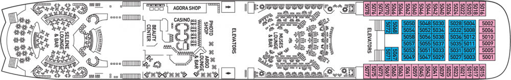 Палуба 5 на круизен кораб CELESTYAL Olympia - разположение на каюти, ресторанти, места за забавления и спорт