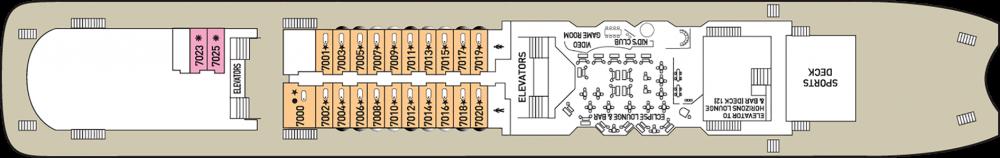 Палуба 7 на круизен кораб CELESTYAL Olympia - разположение на каюти, ресторанти, места за забавления и спорт