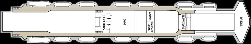 Палуба 8 на круизен кораб CELESTYAL Olympia - разположение на каюти, ресторанти, места за забавления и спорт