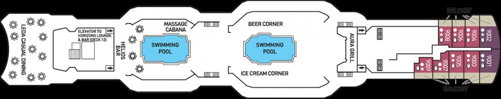 Палуба 9 на круизен кораб CELESTYAL Olympia - разположение на каюти, ресторанти, места за забавления и спорт