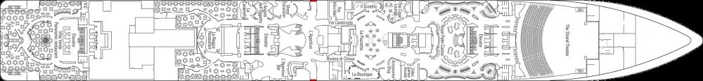 Палуба 6 на круизен кораб MSC Splendida - разположение на каюти, ресторанти, места за забавления и спорт