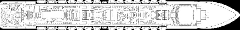 Палуба 7 на круизен кораб MSC Splendida - разположение на каюти, ресторанти, места за забавления и спорт