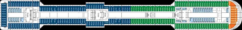 Палуба 9 на круизен кораб MSC Splendida - разположение на каюти, ресторанти, места за забавления и спорт