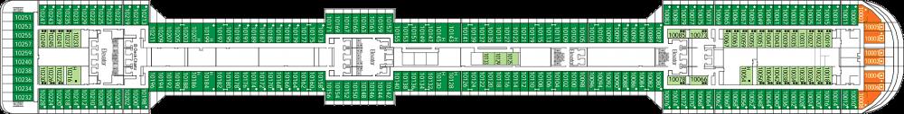 Палуба 10 на круизен кораб MSC Splendida - разположение на каюти, ресторанти, места за забавления и спорт