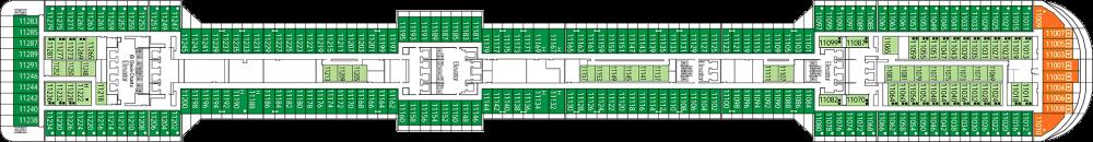 Палуба 11 на круизен кораб MSC Splendida - разположение на каюти, ресторанти, места за забавления и спорт