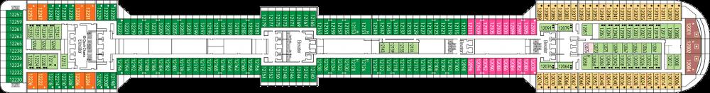 Палуба 12 на круизен кораб MSC Splendida - разположение на каюти, ресторанти, места за забавления и спорт