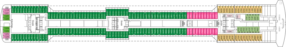 Палуба 13 на круизен кораб MSC Splendida - разположение на каюти, ресторанти, места за забавления и спорт