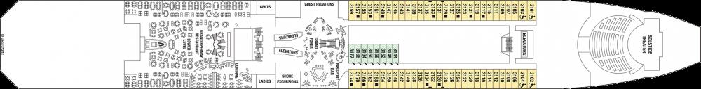 Палуба 3 - Plaza Deck на круизен кораб Celebrity SOLSTICE - разположение на каюти, ресторанти, места за забавления и спорт