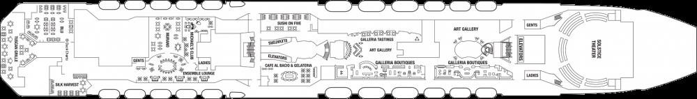 Палуба 5 - Entertainment Deck на круизен кораб Celebrity SOLSTICE - разположение на каюти, ресторанти, места за забавления и спорт