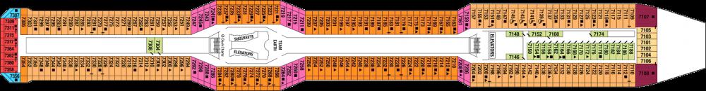 Палуба 7 - Surise Deck на круизен кораб Celebrity SOLSTICE - разположение на каюти, ресторанти, места за забавления и спорт