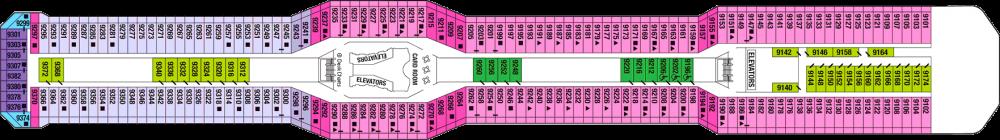 Палуба 9 - Panorama Deck на круизен кораб Celebrity SOLSTICE - разположение на каюти, ресторанти, места за забавления и спорт
