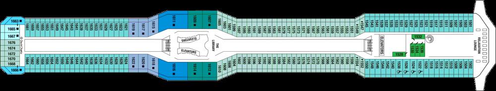 Палуба 11 - Penthouse Deck на круизен кораб Celebrity SOLSTICE - разположение на каюти, ресторанти, места за забавления и спорт