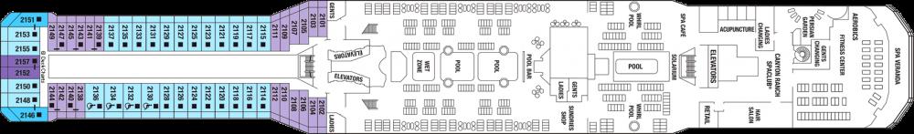 Палуба 12 - Resort Deck на круизен кораб Celebrity SOLSTICE - разположение на каюти, ресторанти, места за забавления и спорт