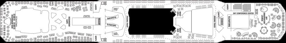 Палуба 14 - Lido Deck на круизен кораб Celebrity SOLSTICE - разположение на каюти, ресторанти, места за забавления и спорт