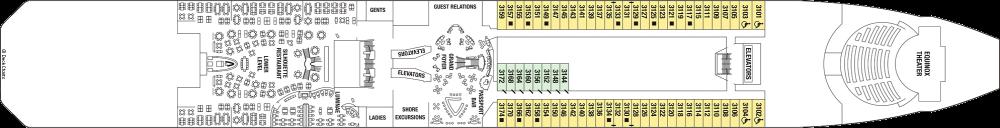 Палуба 3 - Plaza Deck на круизен кораб Celebrity EQUINOX - разположение на каюти, ресторанти, места за забавления и спорт