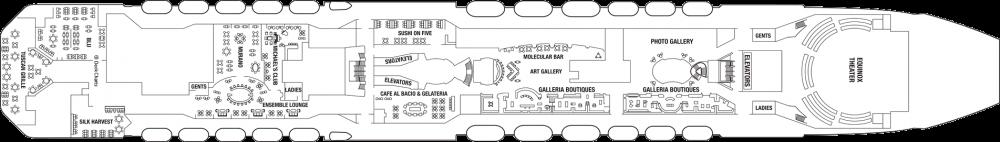 Палуба 5 - Entertainment Deck на круизен кораб Celebrity EQUINOX - разположение на каюти, ресторанти, места за забавления и спорт