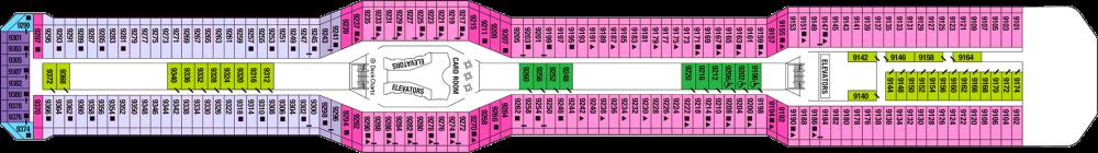 Палуба 9 - Panorama Deck на круизен кораб Celebrity EQUINOX - разположение на каюти, ресторанти, места за забавления и спорт