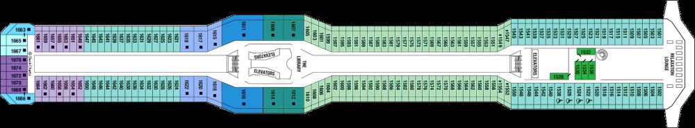 Палуба 11 - Penthouse Deck на круизен кораб Celebrity EQUINOX - разположение на каюти, ресторанти, места за забавления и спорт
