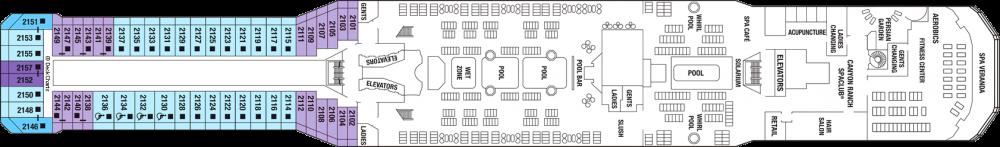 Палуба 12 - Resort Deck на круизен кораб Celebrity EQUINOX - разположение на каюти, ресторанти, места за забавления и спорт