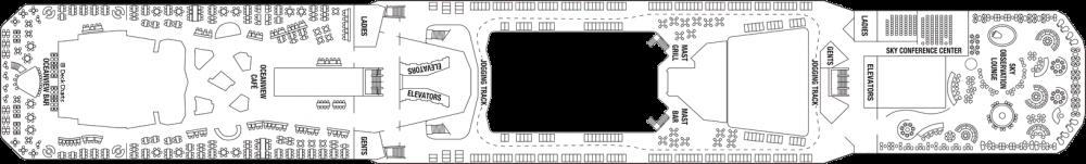 Палуба 14 - Lido Deck на круизен кораб Celebrity EQUINOX - разположение на каюти, ресторанти, места за забавления и спорт
