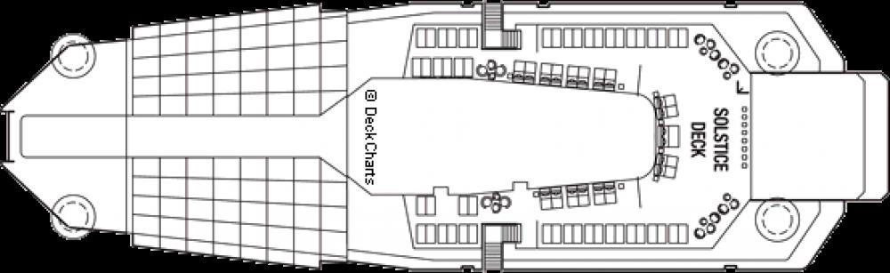 Палуба 16 - Solstice Deck на круизен кораб Celebrity EQUINOX - разположение на каюти, ресторанти, места за забавления и спорт